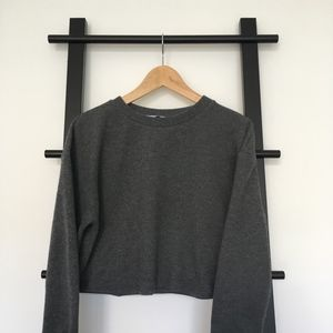Zara Trafaluc Grey Cropped Cozy Boxy Sweater